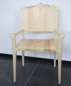 Designer armchair in solid wood with a carved Mountain by myunika
