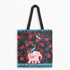 Tote Bag - Blue Bird and Pink Elephant Illustration by Izou Elephant Illustration, Bag Illustration, Pink Elephant, French Artists, Blue Bags, Reusable Tote Bags, Bird, Prints, Collection