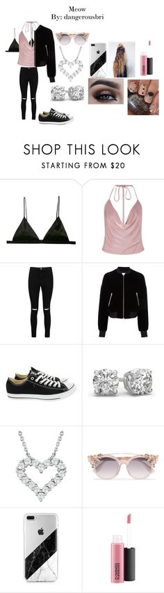 """Meow"" by dangerousbri on Polyvore featuring Fleur du Mal, Boohoo, T By Alexander Wang, Converse, Jimmy Choo and MAC Cosmetics"