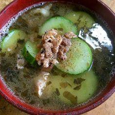 キュウリと梅干の酸っぱい豚汁スープ‼︎ - 42件のもぐもぐ - 糖質制限ダイエットな朝ごはん‼︎ by giacometti1901