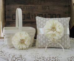Flower Girl Basket Ring Bearer Pillow Set by TheShabbyChicWedding, $60.00