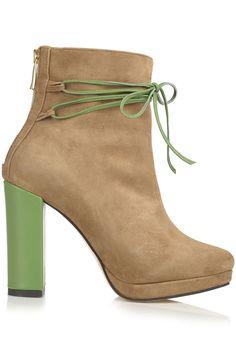 Ghete piele velur cu sireturi si toc culori diferite Wedges, Booty, Shoes, Fashion, Moda, Swag, Zapatos, Shoes Outlet, Fashion Styles