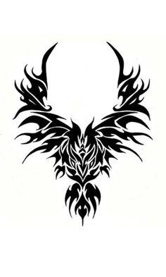 Эскиз тату феникс в племенном стиле