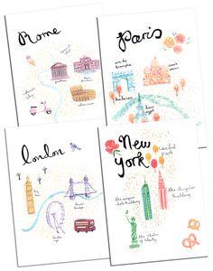 Emma Block Travel Maps prints, Emma Block