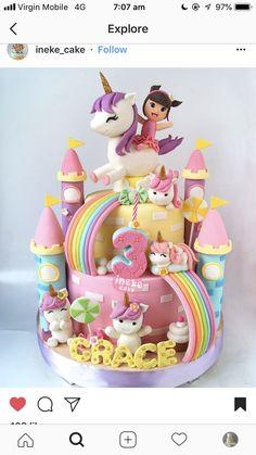 diy birthday cake for girls unicorn cake birthday ~ unicorn cake ; Baby Cakes, Girl Cakes, Cupcake Cakes, Diy Birthday Cake, Unicorn Birthday Parties, Birthday Gifts, Unicorn Cake Pops, Unicorn Rainbow Cake, Unicorn Cakes