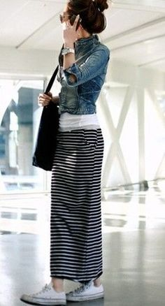 Styling a long striped skirt with a denim jacket and white tee #casual #shopping...