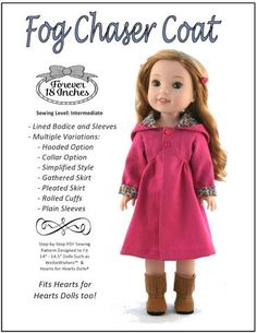 Forever 18 Inches Fog Chaser Coat Doll Clothes Pattern For 14-14.5 Inch Dolls | Pixie Faire