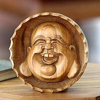 'Laughing Buddha' wood #sculpture from India.