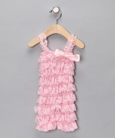 Look what I found on #zulily! Pink Lace Ruffle Romper - Infant #zulilyfinds