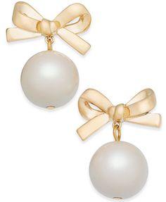 kate spade new york 14k Gold-Plated Imitation Pearl Bow Drop Earrings | macys.com