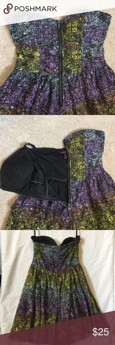 Material Girl strapless romper Strapless romper with bustier top. Super cute rainbow/Aztec print but still kind of edgy. Has padding. Zips in the front. Has loops for straps but I don't have any. Stays up very well but too small for me. Worn once. Material Girl Pants Jumpsuits & Rompers