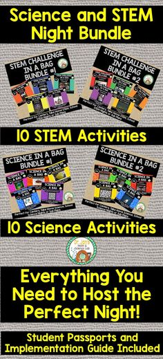 Do you want to host the BEST STEM night without having to do too much preparation? 20 different activities with instructions and activity sheets. Implementation guide, signs, and student passports included. Teacher Created Resources, Science Resources, Science Lessons, Teaching Science, Stem Teaching, Science Activities, Science Experiments, Science Fun, Science Ideas