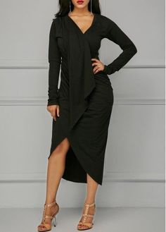 Black Asymmetric Hem V Neck Draped Dress | Rosewe.com - USD $33.69