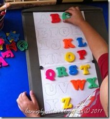 """preschool visual discrimination: abc match. Make the board into a placemat for dramatic play center and the letters can be used as """"food"""""""