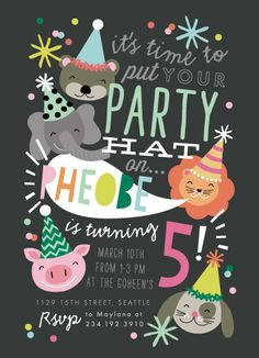 party invitations - Party Hat Animals by Alethea and Ruth 1st Birthday  Invitations e6a19b09b480
