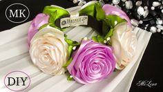 Flower Kanzashi Master Class hand made DIY Tutorial Канзаши МК Ободок для Алины Diy Lace Ribbon Flowers, Kanzashi Flowers, Ribbon Art, Ribbon Hair Bows, Diy Ribbon, Fabric Ribbon, Ribbon Crafts, Fabric Flowers, Ribbon Rose
