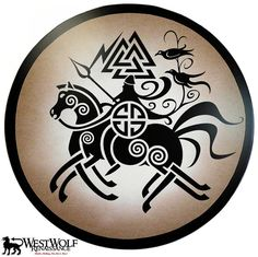 Round Wooden Viking Odin on Sleipnir Shield by WestWolfRenaissance, $199.95