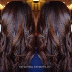 Brunette balayage chocolate red hair style done by . Loose curls perfect for date night Brunette Hair Color, Cinnamon Brown Hair Color, Reddish Brown Hair Color, Brown Hair Colors, Rich Brown Hair, Cinnamon Hair, Dark Auburn Hair Color, Chestnut Brown Hair, Fall Hair Color For Brunettes, Hair Colours