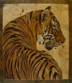 Tiger (wood marquetry) it's made of wood. Size 84*95. For sale