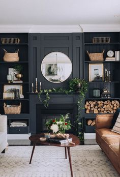 Home & Interior bold accent wall, dark moody living room, natural living room Parental Control - The Home Living Room, Room Design, Moody Living Room, Room Interior, Home Decor, Room Inspiration, House Interior, Beautiful Living Rooms Decor, Home And Living