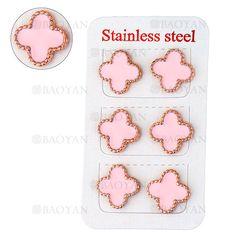 aretes de trebol de rosa en acero para mujer-SSEGG404521