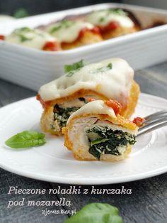 Roladki z kurczaka pod mozarellą Spanakopita, Mozzarella, Sushi, Breakfast, Ethnic Recipes, Food, Meat, Morning Coffee, Essen