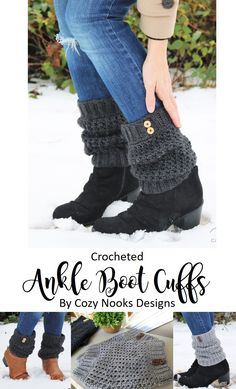 boot cuffs This listing is for a CROCHET PATTERN only, so that you can make your own Slouchy Ankle Boot Cuffs! How cute are these Boot Cuffs? The ever popular boot cuffs are a perfect fashi Crochet Boot Socks, Crochet Boot Cuff Pattern, Knitted Boot Cuffs, Crochet Leg Warmers, Knit Boots, Crochet Slippers, Crochet Ideas, Hat Patterns, Rave Outfits