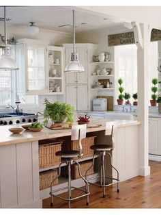 Dream Kitchen Warm More On Narrow Kitchen Remodel Ideas - Own Kitchen Pantry Narrow Kitchen, New Kitchen, Kitchen Dining, Kitchen Decor, Kitchen Ideas, Country Kitchen, Island Kitchen, Vintage Kitchen, Kitchen Baskets