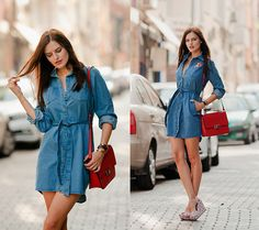 Get this look: http://lb.nu/look/7690968 More looks by Viktoriya Sener: http://lb.nu/viktoriyasener Items in this look: Style Moi Denim Dress, Zara Bag, Beads.Us Brooches, Loly In The Sky Sandals #bohemian #chic #preppy