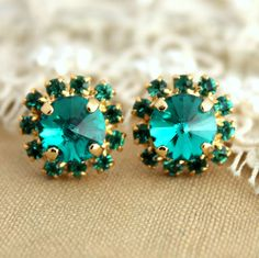 Classic 14k Gold Plated Stud #Earrings With Turquoise #Stud
