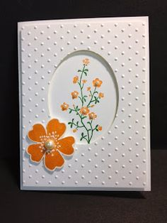 handmade card from My Creative Corner!: Morning Meadow ... luv the clean and simple look ... oval negative space frames sweet flowers ...