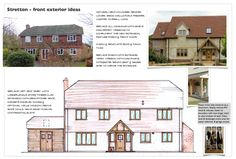 Front elevation ideas including new front porch, lower rendered walls and the new timber clad side extension - essential to re-plan and improve the interior space