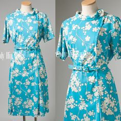 Vintage 60s MOD Mad Men Turquoise White Floral Aline Dress by TrendyHipBuysVintage