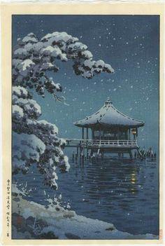 +++KOITSU Japanese Woodblock Print UKIMIDO LAKE BIWA 1934