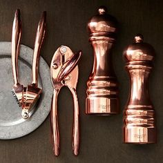Copper Garlic Press, Can Opener And Salt And Pepper Shaker