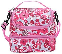 MIER Double Decker Insulated Lunch Box Pink Soft Cooler Bag Thermal Lunch Tote with Shoulder Strap Pink Flower Kids Lunch Bags, Best Lunch Bags, Lunch Tote, Kids Bags, Insulated Bags, Insulated Lunch Box, Soft Cooler Bag, Cool Lunch Boxes, Picnic Bag