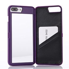 """iPhone 7 Plus Case,Wetben Hidden Back Mirror Wallet Case with Stand Feature and Card Holder for Apple iPhone 7Plus,5.5"""" (Purple)"""