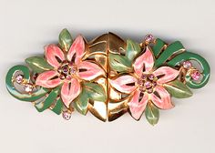 Coro Pink Enamelled Floral Dress Clips Duette