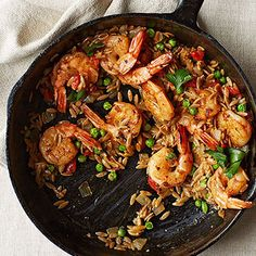 One-Dish Dinner: Speedy Shrimp and Orzo Paella #recipe