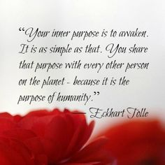 """☆  """"Your inner purpose is to awaken.  It is as simple as that.  You share your purpose with every other person on the planet ~~  because it is the purpose of humanity.""""  ~ Eckhart Tolle  ☆"""