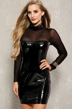 Sexy Black Faux Leather Patent Long Sleeve Bodycon Party Dress