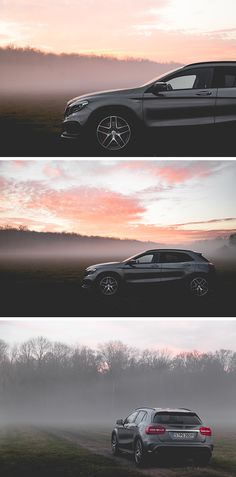 An unknown path, fog and a pink sky - What a nice setting for the GLA! Photos by Katie Rowan (kathrynrowan.com) for #MBsocialcar [Mercedes-AMG GLA 45 4MATIC | Fuel consumption combined: 7.4 l/100km | combined CO₂ emissions: 172 g/km | http://mb4.me/efficiency_statement]