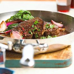 Ready in just 30 minutes, our one-pan skillet beef tenderloin recipe is a delicious weeknight dinner option your family will love. The dish gets its flavor from shallots, red wine, parsley, and pink peppercorns. Serve with our braised swiss chard side for a complete meal!