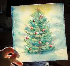 Image result for watercolor christmas tree