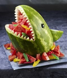 Watermelon Shark - How to carve this fun summer centerpiece. Great for a margarita ville party