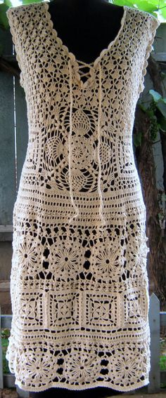 Sale Handmade lace crochet dress- replica fashion style, made to order ,summer dress, cream cotton,. $750.00, via Etsy.