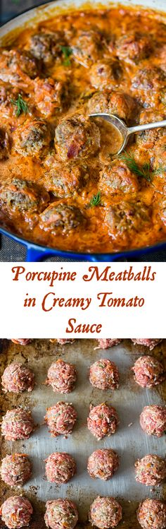 recipes meat These porcupine meatballs baked in rich sour cream and tomato sauce are a perfec. These porcupine meatballs baked in rich sour cream and tomato sauce are a perfect mix of deliciousness and nostalgia! Your family will love them! Ground Beef Recipes, Pork Recipes, Chicken Recipes, Cooking Recipes, Popcorn Recipes, Meatball Recipes, Turkey Recipes, Beef Dishes, Food Dishes