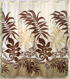 Honu Sea Turtle Hawaiian Quilt Print Bathroom Fabric Shower Curtain