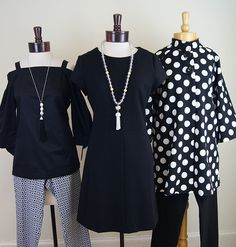 Ginger Howard Selections, Tyler Boe blouse and Elliott Lauren pants; Tyler Boe dress and Lisi Lerch necklace; Luii coat and Tribal pants