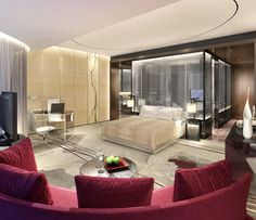 Guestroom rendering for Four Seasons Hotel Guangzhou, designed by HBA/Hirsch Bedner Associates.